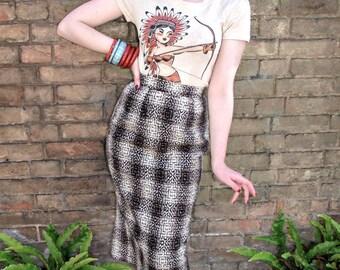 Native American Girl Tshirt size S, M, L,XL,2XL,3XL Heather beige Rockabilly 1950s vintage inspired by Mischief Made