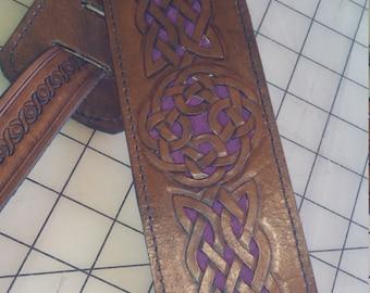 Guitar straps, Celtic Leather Guitar Strap w/celtic knot conchos