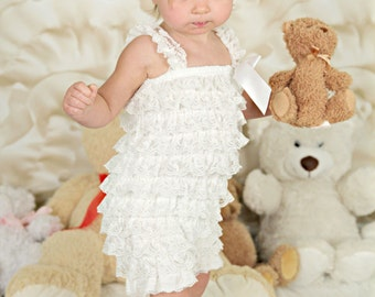 Off White Pettiromper and Headband Set, Cake Smash Outfit, Photo Shoot Prop, Lace Romper Outfit, Ruffled Romper and Matching Headband