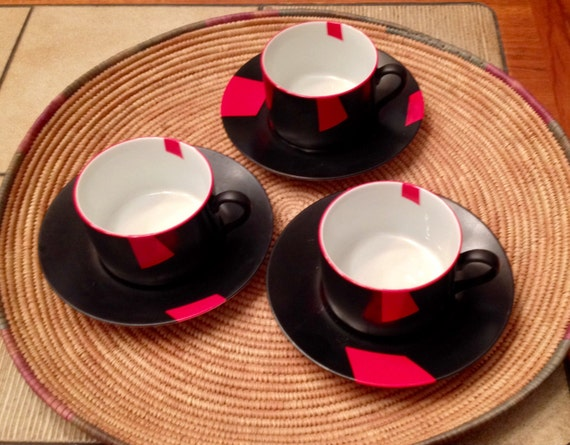taitu cups saucers 3 san marco italy rare by westmoondesigns. Black Bedroom Furniture Sets. Home Design Ideas