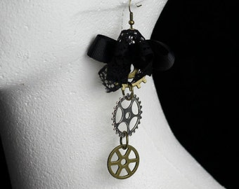 Steampunk Gears/Key Charm Earrings
