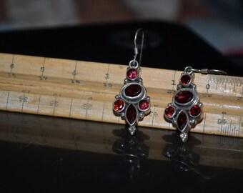 Mineral specimen garnet sterling silver french hook dangle earring's...boho..gem's..jewelry..hippie..gypsy..deep red garnet
