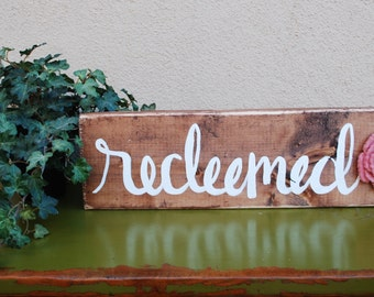 Redeemed Hand Painted Wood Sign