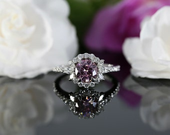 6.5mm Pink Moissanite Halo Engagement Ring with Diamonds (available in rose, white, yellow gold and platinum)