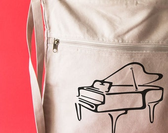 Piano Music Personalized Bag Canvas Backpack Student Teacher Gift Music Art Musician Gifts Learn Piano Music Bag Piano Keys Music Lesson Bag