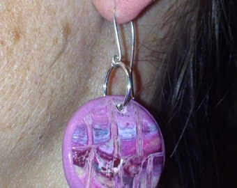 small pink polymer clay disk earrings