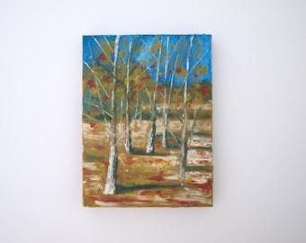 An original oil painting Birch Trees
