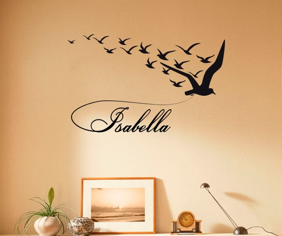 personalized name wall decal custom name vinyl sticker birds