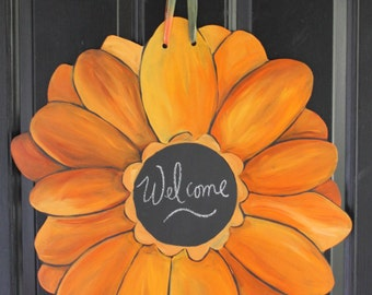 Fall Orange Mum Door Hanger