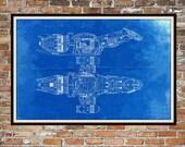 Glühwürmchen Serenity Blueprint Kunst der Firefly-Klasse technische Zeichnungen, technische Zeichnungen Patent blau Drucken Kunst Elements 00189