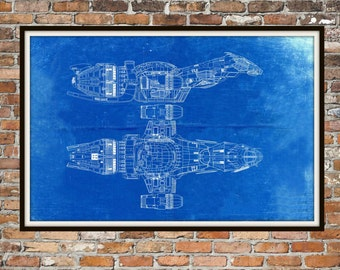 Firefly Serenity Blueprint Art of Firefly Class Technical Drawings Engineering Drawings Patent Blue Print Art Item 00189
