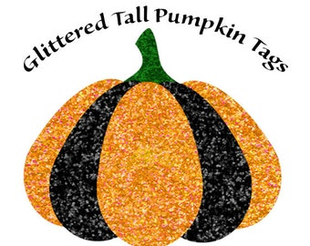 Fall Embellishments, Pumpkin Tags, Glittered Pumpkins, Black and Orange Pumpkin Tags, Instant Download, Gift Tags, Fall Decor, Halloween