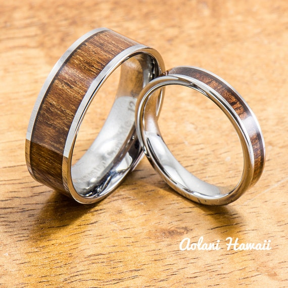 wedding band set of tungsten rings with hawaiian by