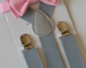 Bright Pink Bow Tie & Gray Suspenders -- Ring Bearer Outfit -- Mens Bow Tie Suspenders