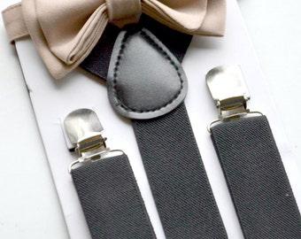 Black Suspenders & Beige Bow Tie -- Ring Bearer Outfit -- Groomsmen Bow Tie Suspenders