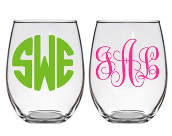 Personalized Monogrammed Wine Glasses  Available in a Stemmed and Stemless Wine Glasses.