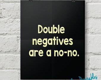 Double Negatives, Punctuation, Grammar, Teacher, Classroom, Wall Art, Dorm Art, Instant Download