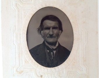Vintage portrait  tintype of Dr. Hiram Blundstone