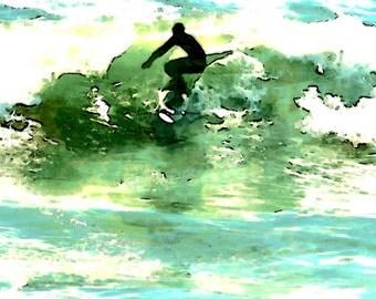 Watercolor Surfer Pismo Beach California Surf Surfing Blue Green Ocean Waves Art Print Photography Photograph