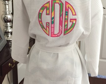 Womens Waffle Weave Lilly Pulitzer Applique Double Monogrammed Short Spa Robe
