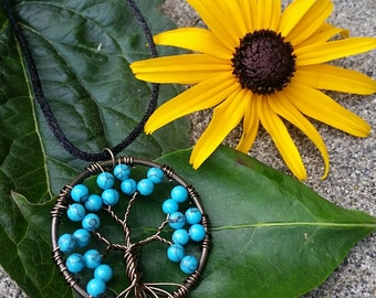 Handmade Turquoise Tree of Life Necklace
