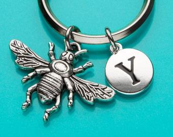 Queen Bee Keychain, Bee Key Ring, Bumble Bee Keyring, Initial Keychain, Personalized Keychain, Custom Keychain, Charm Keychain, 578