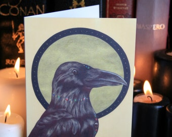 Three-Eyed Raven A6 Greeting Card. Occult, Magic, Mystical, Crow, Raven. (Corvus Corax: Tertius Oculus) Designed and Printed in the UK.