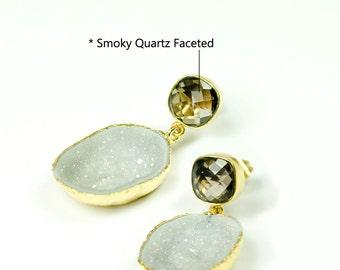 14K Natural White Geode Earrings, Natural Geode Earrings, Dangle Post Earrings, One of A Kind Earrings, Bridal Earrings, Unique Earrings