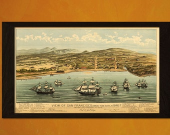 View Old San Francisco Map 1846 - Antique Map Retro Poster Old Prints Ancient Map Wall Decor Office decoration Vintaget