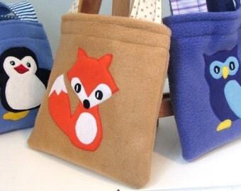 FOX: Children's Fleece, Cotton and Felt Fox Bag