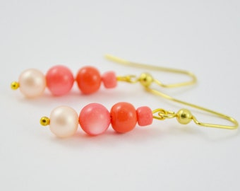 FREE SHIPPING, coral earrings, coral pink earrings, pink coral earrings, pink earrings, pink dangles, coral dangles