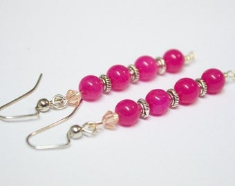 FREE SHIPPING, Magenta earrings, Fuschia earrings, fuchsia earrings, magenta dangles, magenta beaded earrings, deep pink earrings, dark pink