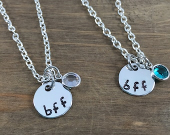 TWO BFF Birthstone Necklaces - Hand Stamped BFF Necklaces - Best Friends Necklaces - Birthstone Necklaces - Friends Necklaces