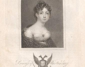 Princess of Wurtenberg, Russian royalty - original portrait engraving, 1816