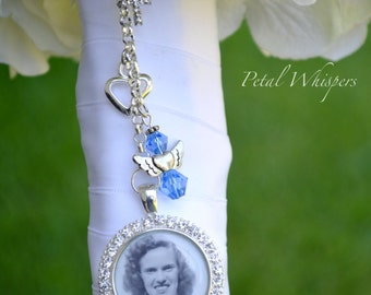 Bouquet Charm - Bouquet Memorial Charm - Something Blue - Bridal Accessories - Bridal Photo Charm - Bridal Gift - Bouquet Picture Charm