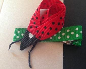 Ladybug/Ladybird Ribbon Hairclip
