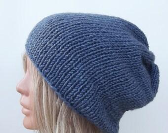 Knit hat, womens hat, slouch hat, knit slouchy hat, knit beret, pompom hat, chunky knit hat, knit slouchy hat beret