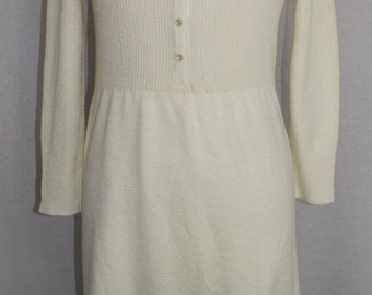 Vintage late 1960's early 1970's knit dress in winter white