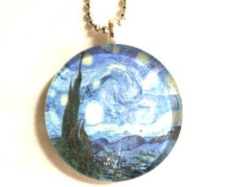 Van Gogh's Starry Night Cabochon Necklace