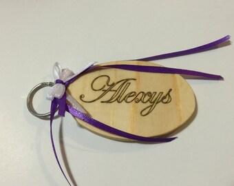 Wooden Key Chain - Pine  - Custom Name Engraving - Custom Engraving