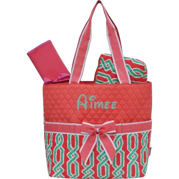 monogram diaper bag quilted coral laguna vine print diaper bag. Black Bedroom Furniture Sets. Home Design Ideas
