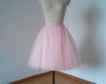 Beaded Waistline Light Pink Tulle Short Skirt