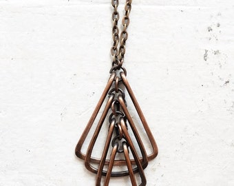 Copper Articulated Triangle Necklace