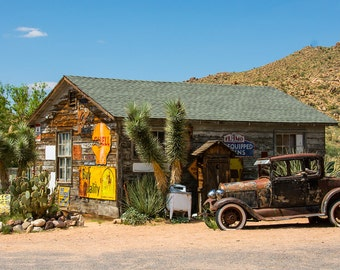 Rustic Decor, Route 66, Vintage Car Photography, Gift for Men, Manly Decor,  Old Ford, Americana, Classic Car Art, Old Signs Hackberry Store
