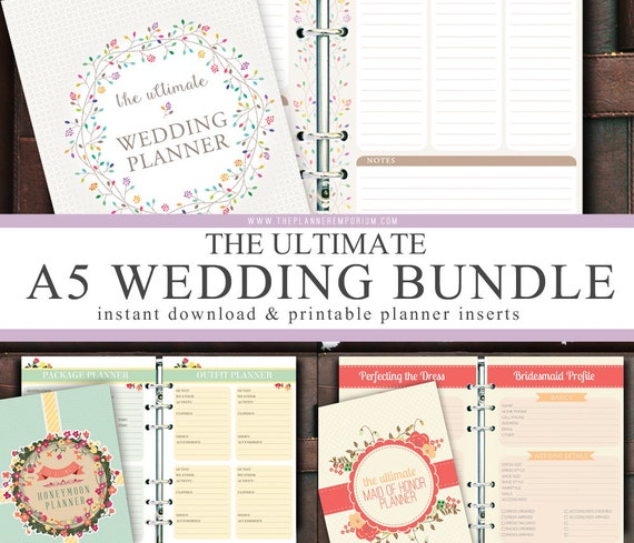 a5 ultimate wedding honeymoon planner inserts bundle instant