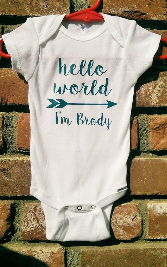 Personalized Boy S Hello World Onesie Boy S Newborn