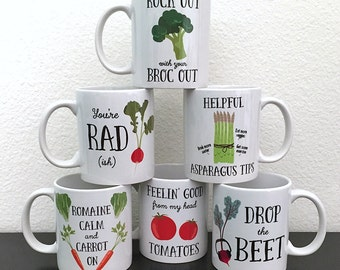 Coffee Mug Veggies Set of 6 Coffee Mug s - Great Gift for Vegan or Vegetarian - Funny Mugs