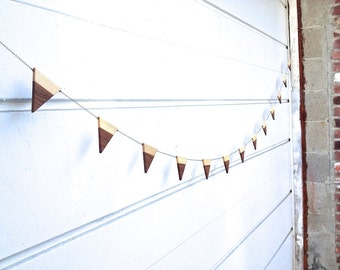 wooden triangle geometric bunting/garland/banner/wall hanging/contemporary home decor