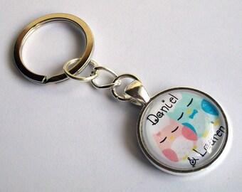 Personalised Keychain ~ Owls Keyring ~ Personalised Names  ~ Custom Keyring ~ Couple Keyring ~ Birthday Gift ~ Bag Charm