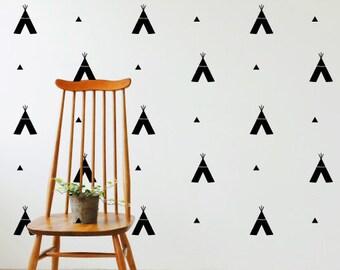 Tee Pee Tribal Pattern Animals Kids Nursery | Removable Wall Decal Sticker | MS174VC